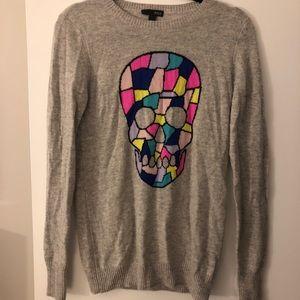 Aqua skull cashmere sweater